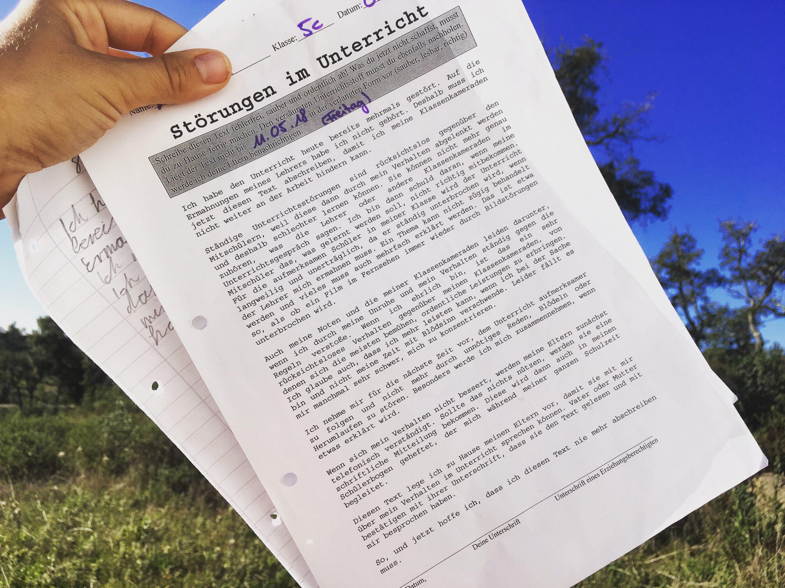 Original Strafarbeit Schule - Störung Im Unterricht bestimmt für Strafarbeit Warum Darf Ich Im Unterricht Nicht Reden