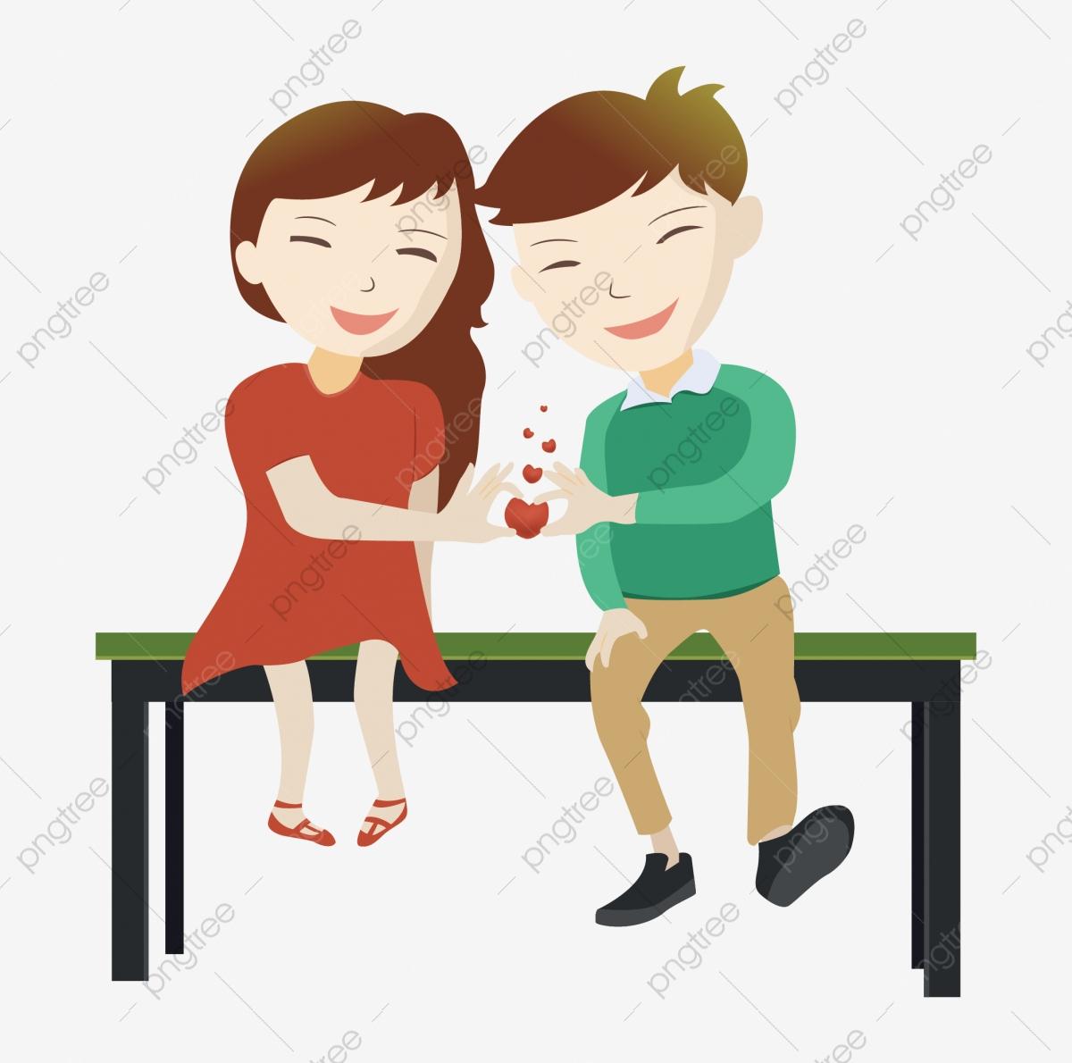 Paare Die Auf Der Bank Mit Liebe Sitzen Zeichentrickfigur für Verliebtes Paar Comic