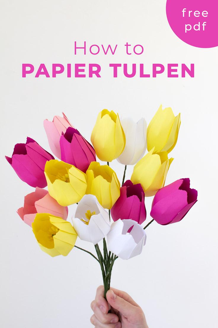 Papier Blumen Basteln: Einfache Tulpen (Mit Vorlage ganzes Basteln Mit Kindern Frühling Vorlagen