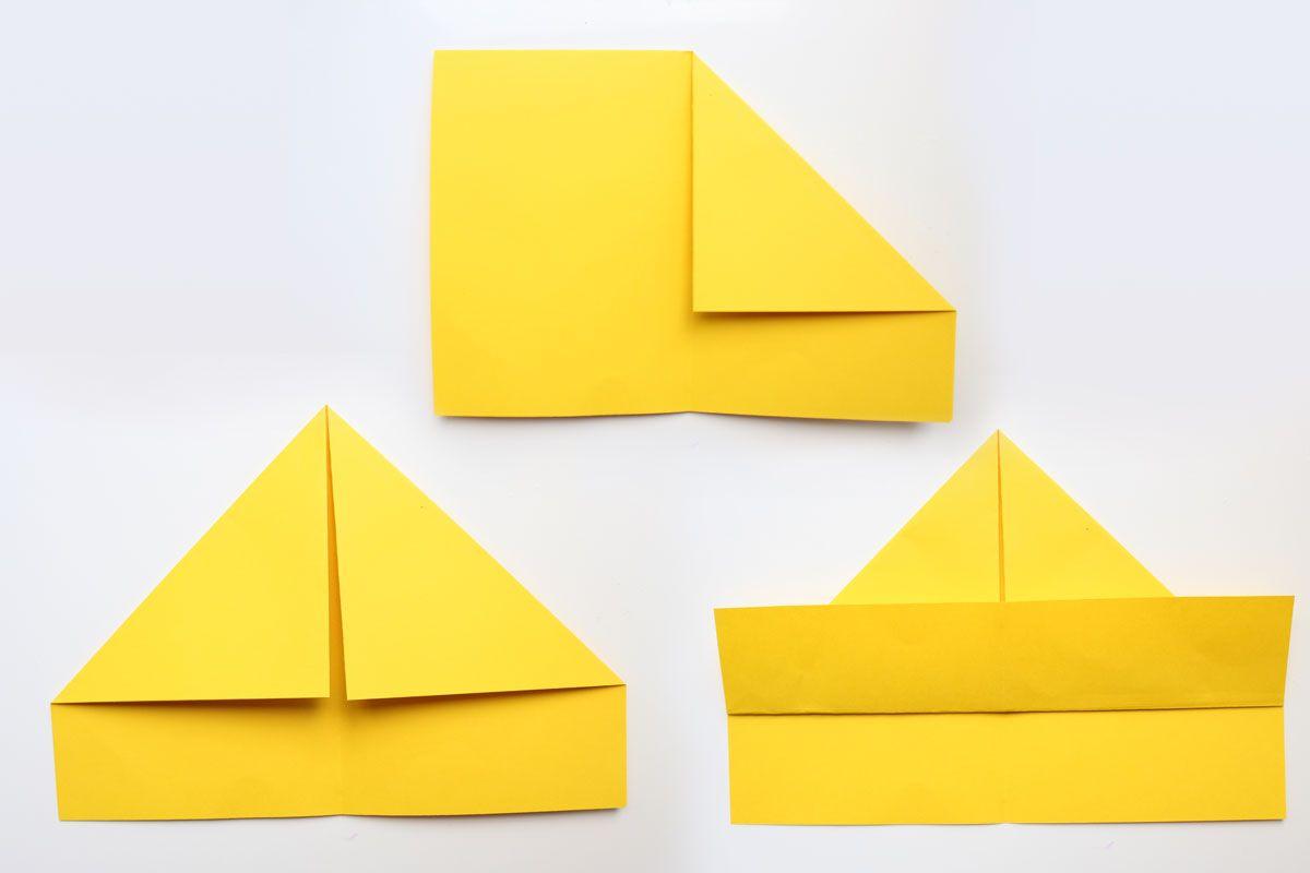 Papier-Schiffe Falten Leicht Gemacht   Schiff Falten verwandt mit Bastelvorlage Schiff Tonkarton