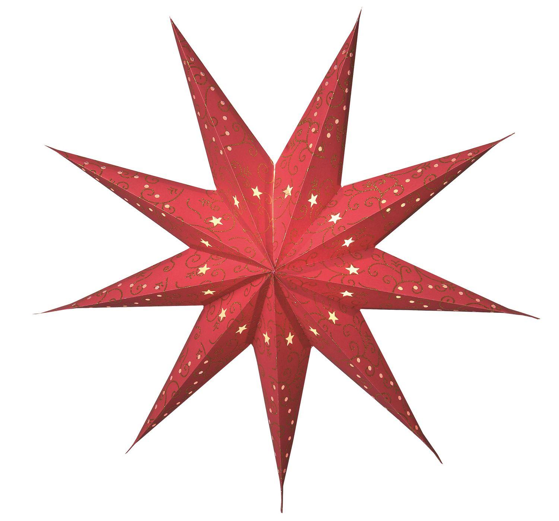 Papier Stern Weihnachtsstern Hängend 60Cm 9 Zackig Rot Ohne Kabel |  Netproshop für Weihnachtsstern Bild