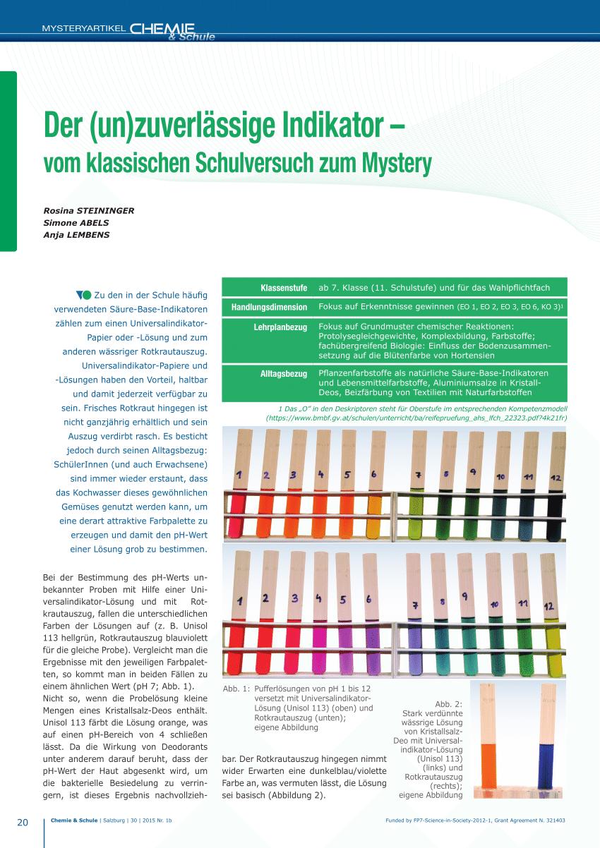 Pdf) Der (Un)Zuverlässige Indikator – Vom Klassischen innen Rotkohlsaft Indikator