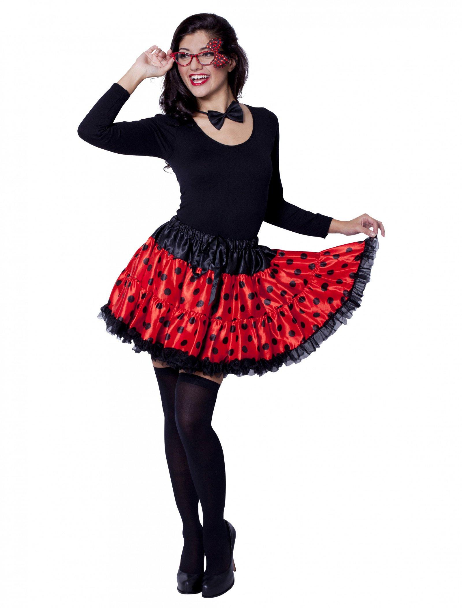 Petticoat Marienkäfer Schwarz/rot innen Marienkäfer Fasching Schminken