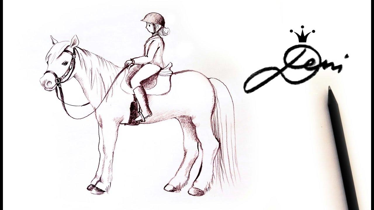 Pferd Mit Reiter Zeichnen Lernen Mit Bleistift 🏇 How To Draw A Horse With  Rider 🐎 Рисува Кон С Ездач bestimmt für Steigendes Pferd Zeichnen