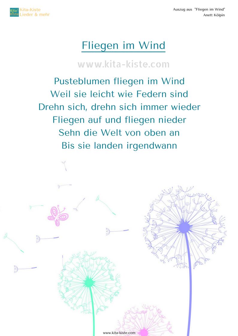 Pin Von Kitakiste Auf Kita-Kiste (Lieder & Reime) | Gedichte verwandt mit Frühlingsgedichte Für Kindergartenkinder