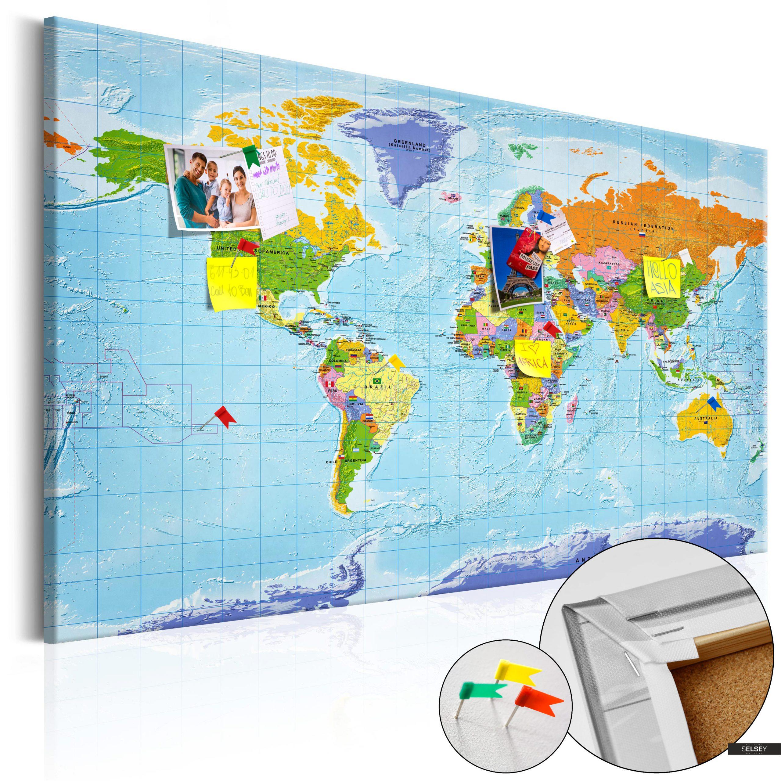 Pinnwand Weltkarte Mit Flaggen bei Weltkarte Mit Flaggen