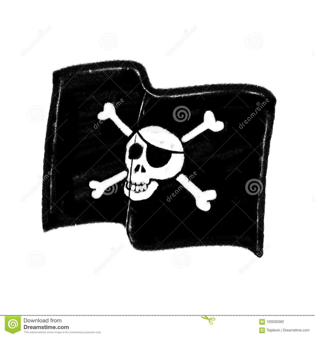 Piratenflaggen-Freihandzeichnenzeichnung Stockfoto - Bild in Piratenflaggen