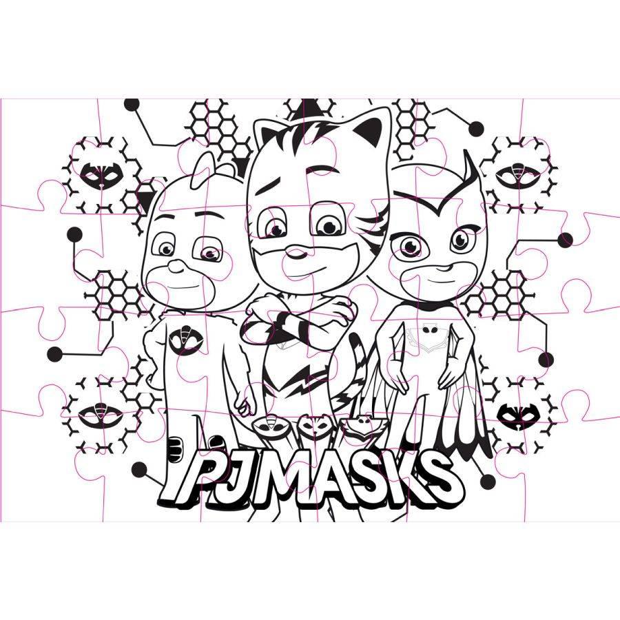 Pj Masks - Puzzle 2-Seitig Zum Ausmalen (24 Teile) in Puzzle Zum Ausmalen