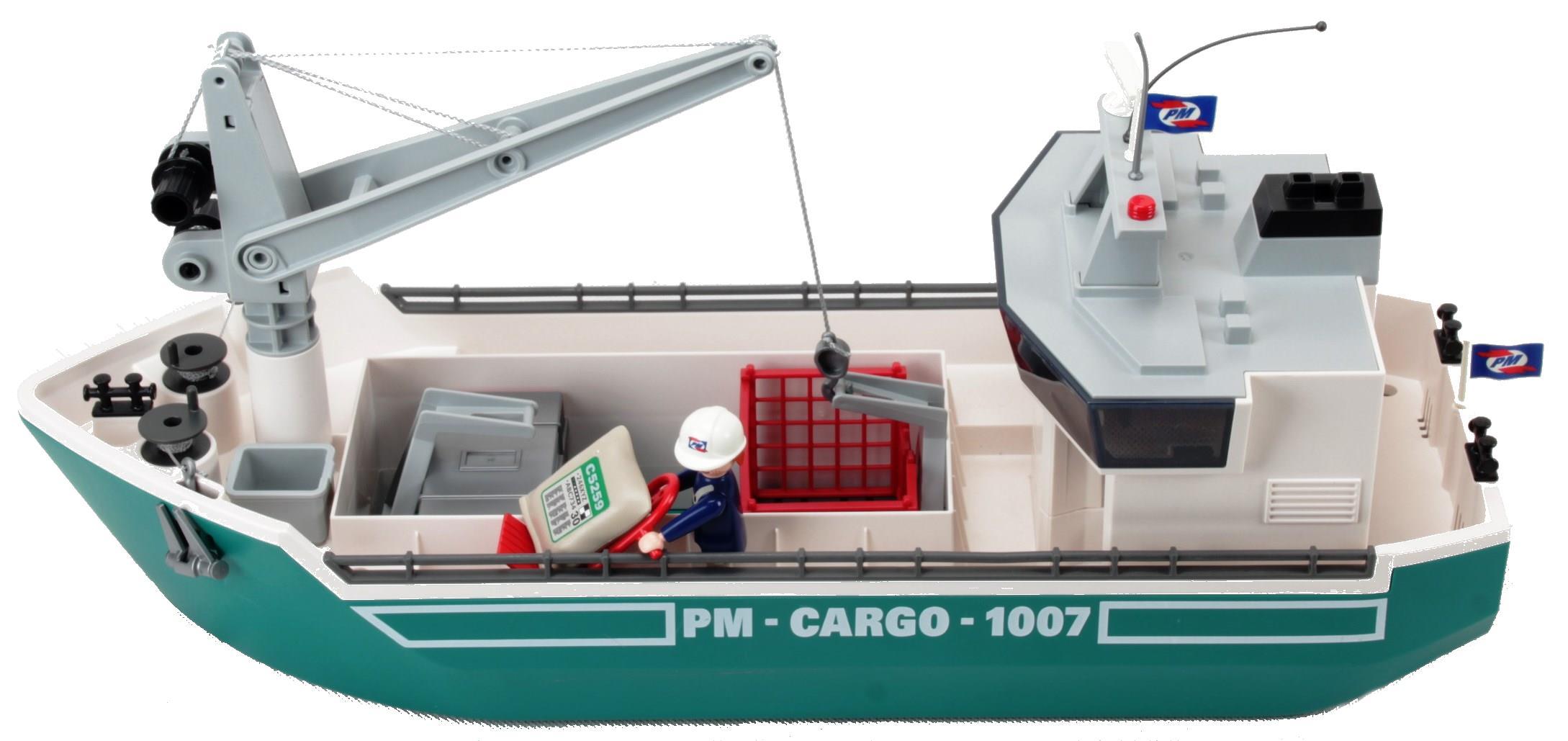 Playmobil - Frachtschiff Mit Verladekran - Decotoys ganzes Playmobil Containerschiff