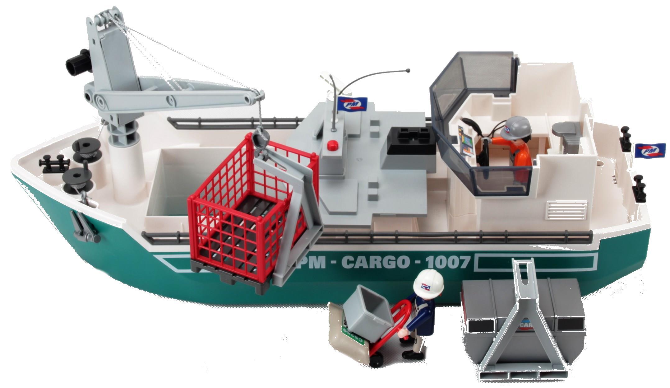 Playmobil - Frachtschiff Mit Verladekran - Decotoys verwandt mit Playmobil Containerschiff