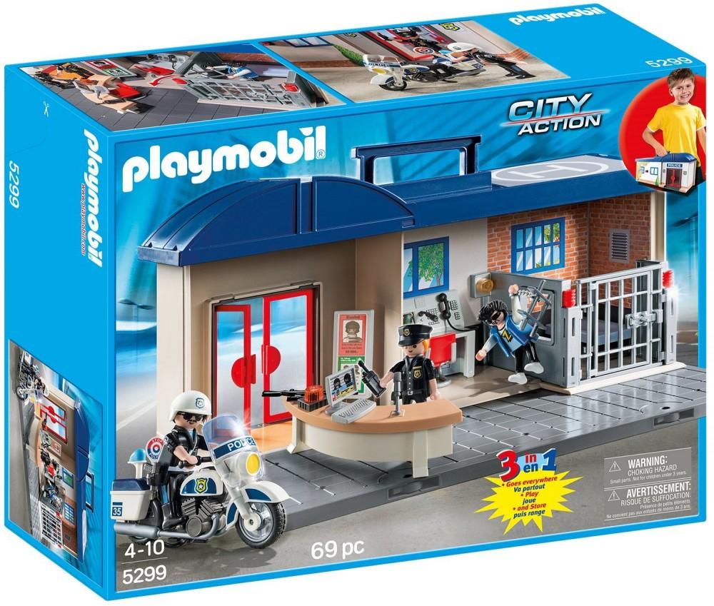 Playmobil Mitnehmkoffer Polizeizentrale Polizeiwache Gefängnis Cop 5299 ganzes Polizeiwache Playmobil