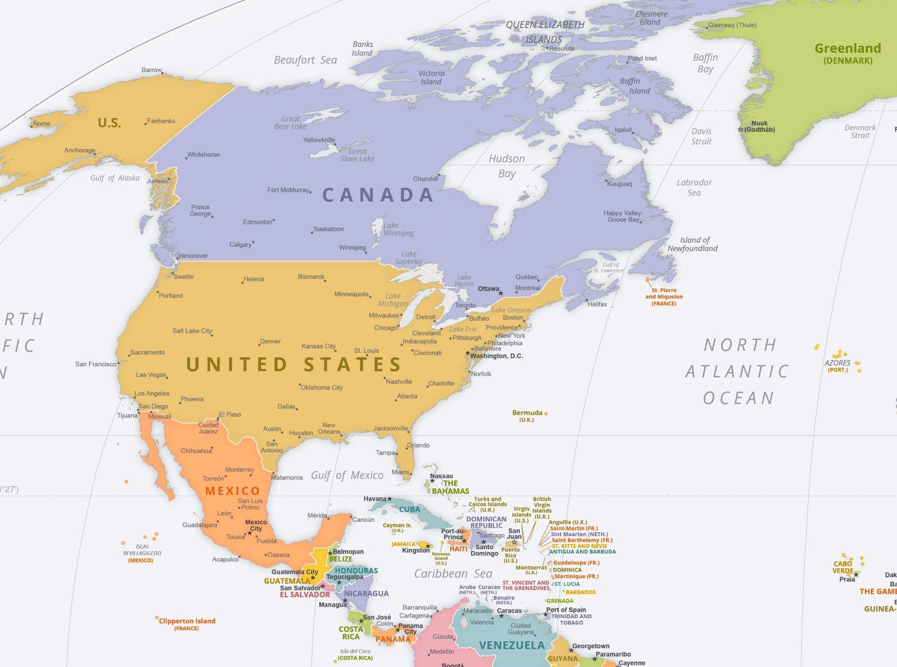 Politische Karte Nordamerikas Mit Den Hauptstädten über Nordamerika Karte Mit Staaten Städte