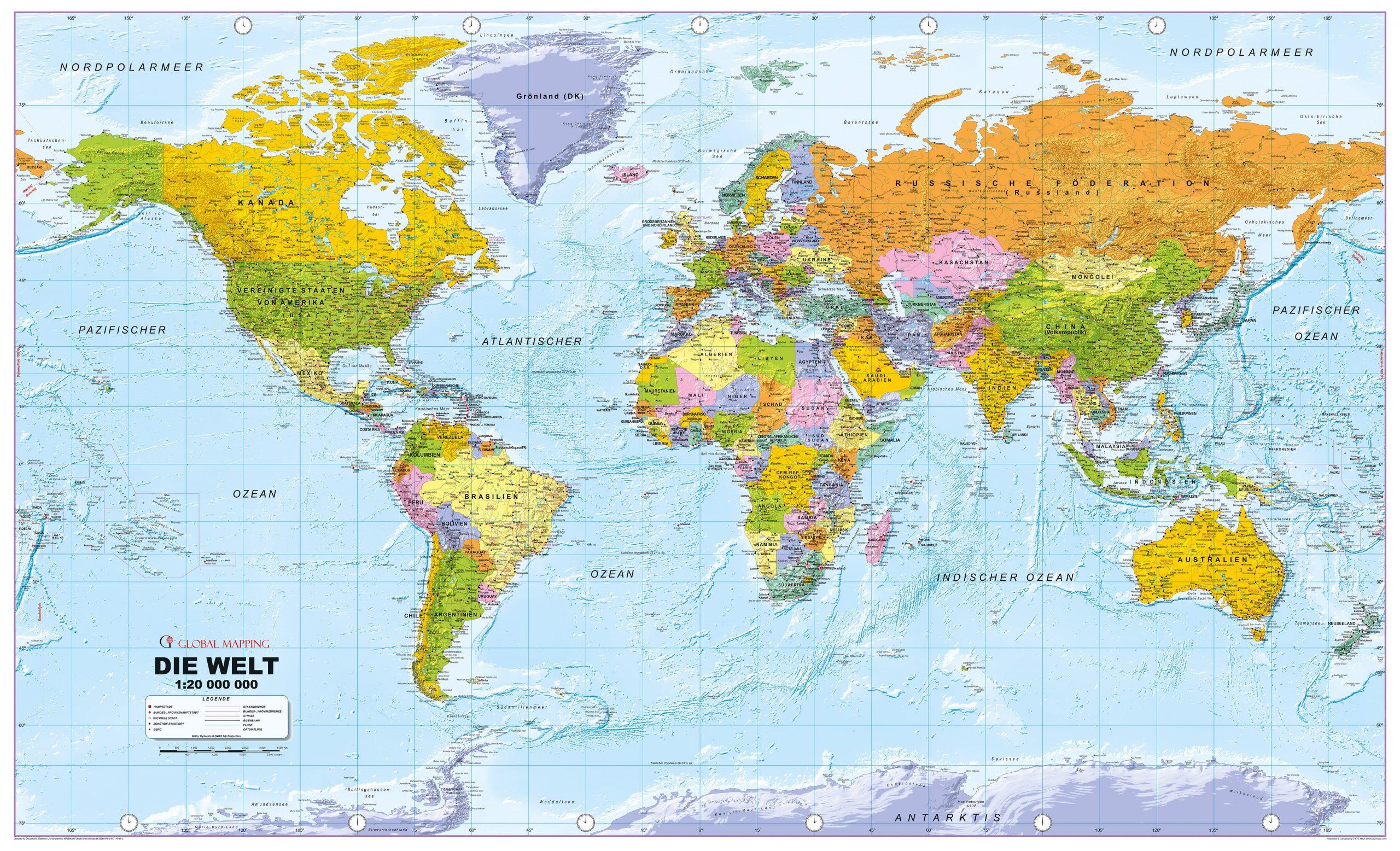 Politische Weltkarte In Deutscher Sprache 1:20Mio 192 X 122Cm über Weltkarte Länder Beschriftet