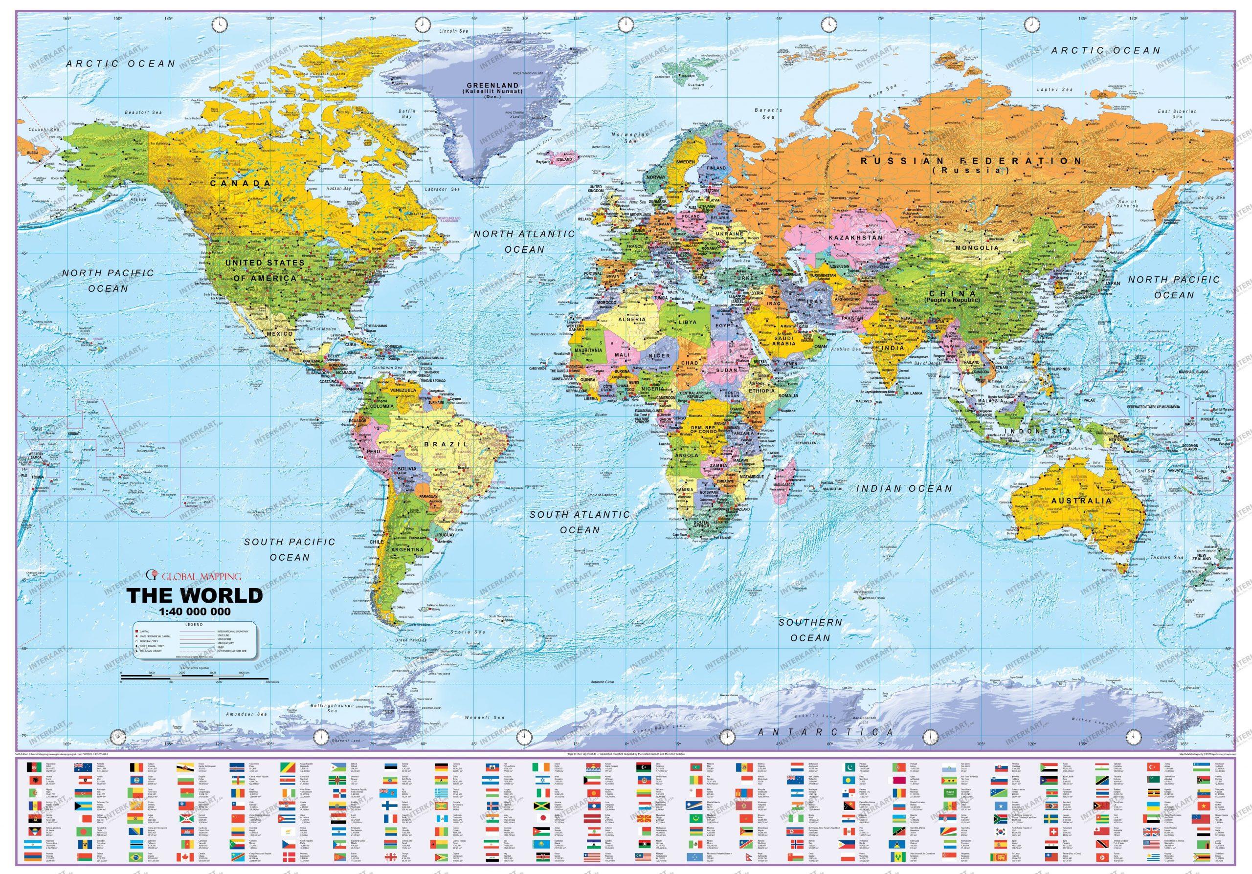 Politische Weltkarte Mit Flaggen 1:40 Mio 100 X 61Cm innen Weltkarte Mit Flaggen