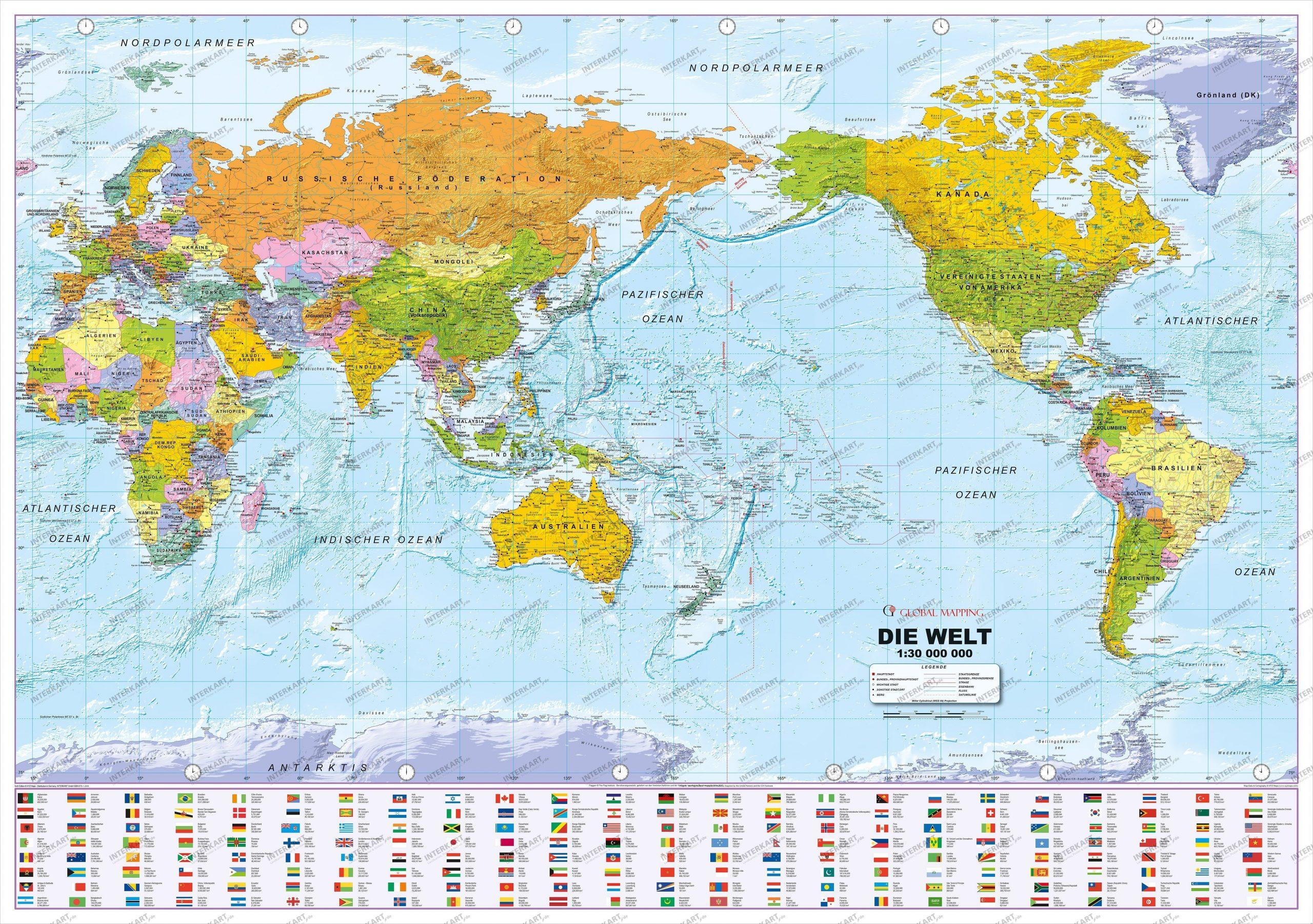 Politische Weltkarte Pazifik Zentriert Mit Flaggen Deutsch 135 X 95Cm für Weltkarte Länder Beschriftet