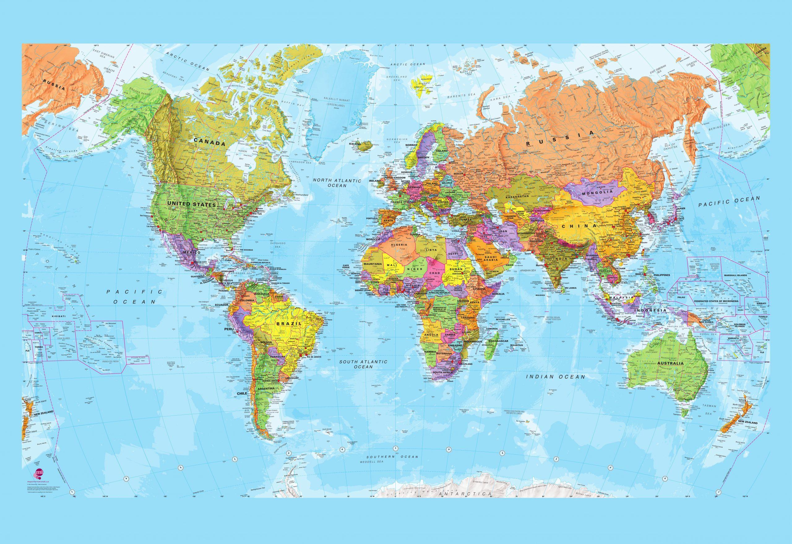 Politische Weltkarte Xl 232X158Cm verwandt mit Weltkarte Farbig