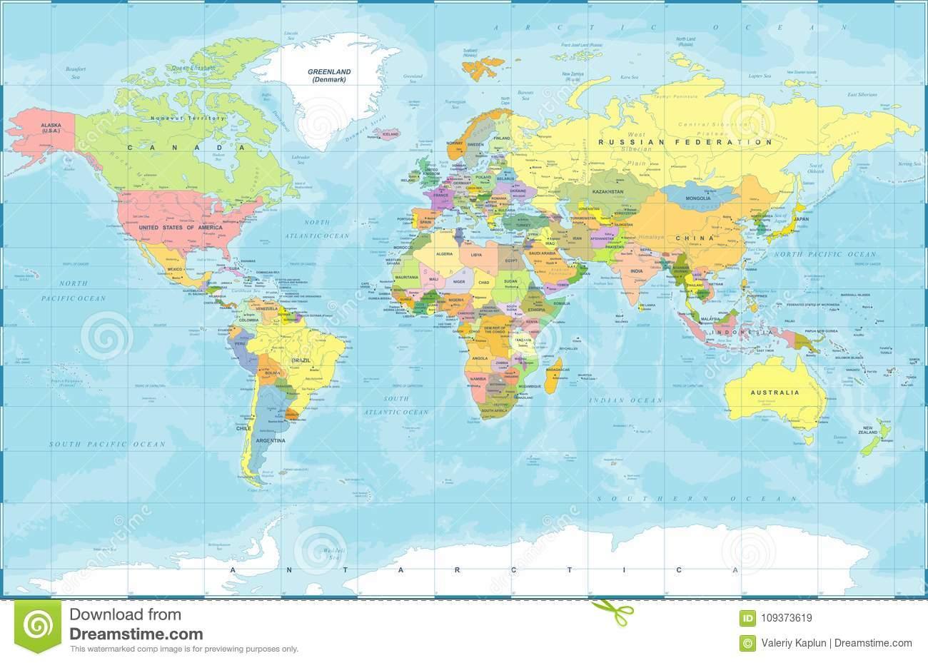 Politischer Farbiger Weltkarte-Vektor Stock Abbildung mit Weltkarte Farbig