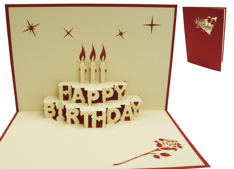 Pop Up 3D Karte, Geburtstagskarte Gutschein, 3D Klappkarte, Torte Rot ganzes Geburtstagkarten