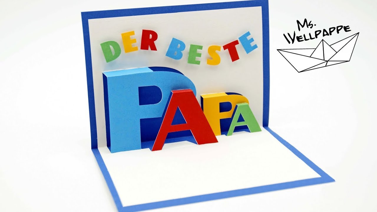 Pop Up Card For Father`s Day - How To Make Popup Cards - Diy innen Bastelideen Zum Vatertag Grundschule
