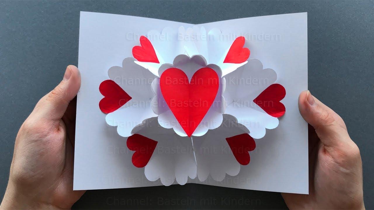 Pop Up Card: Heart ❤ Pop Up Card Mother's Day - Diy Mother's Day Gift für Geburtstagsgeschenk Mama Selber Machen