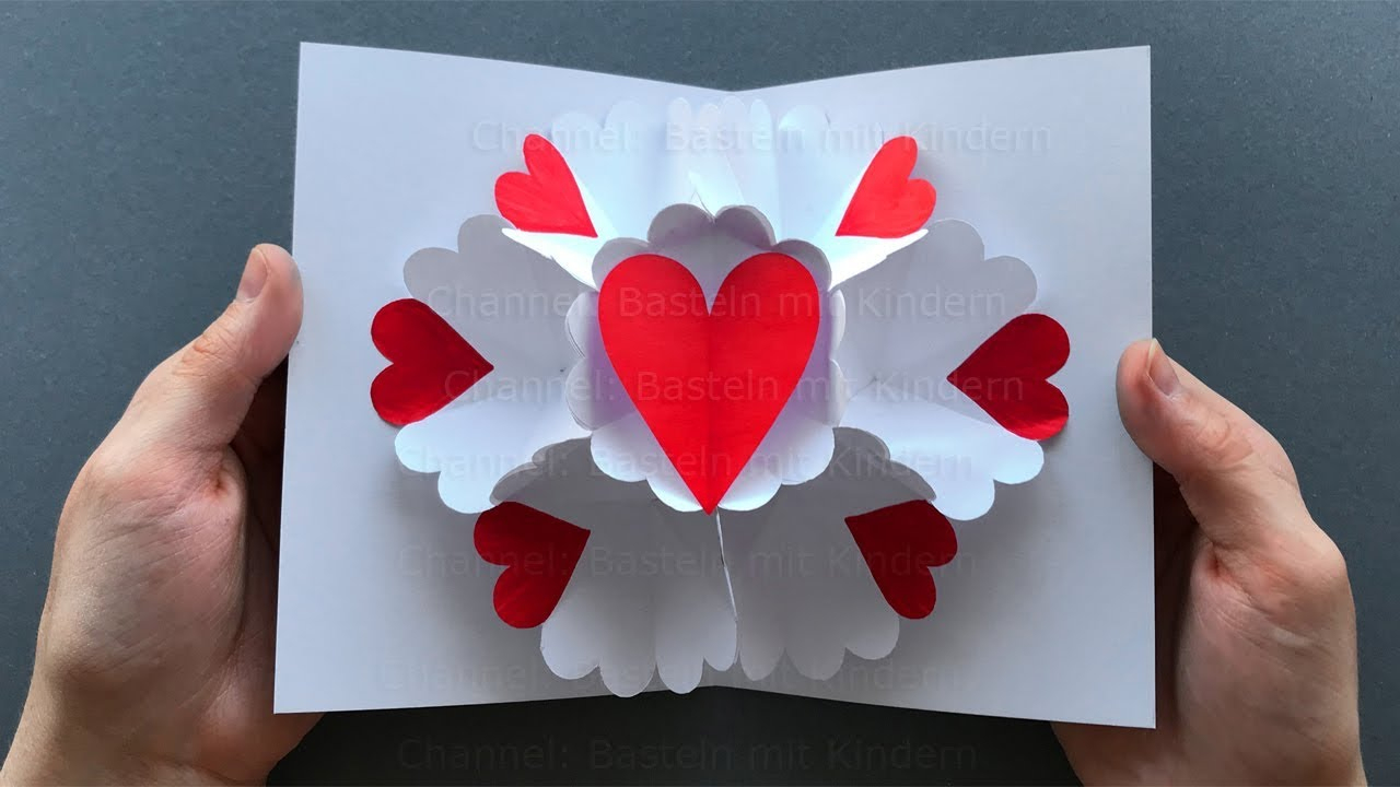 Pop Up Card: Heart ❤ Pop Up Card Mother's Day - Diy Mother's Day Gift innen Selbstgebastelte Geschenke Von Kindern