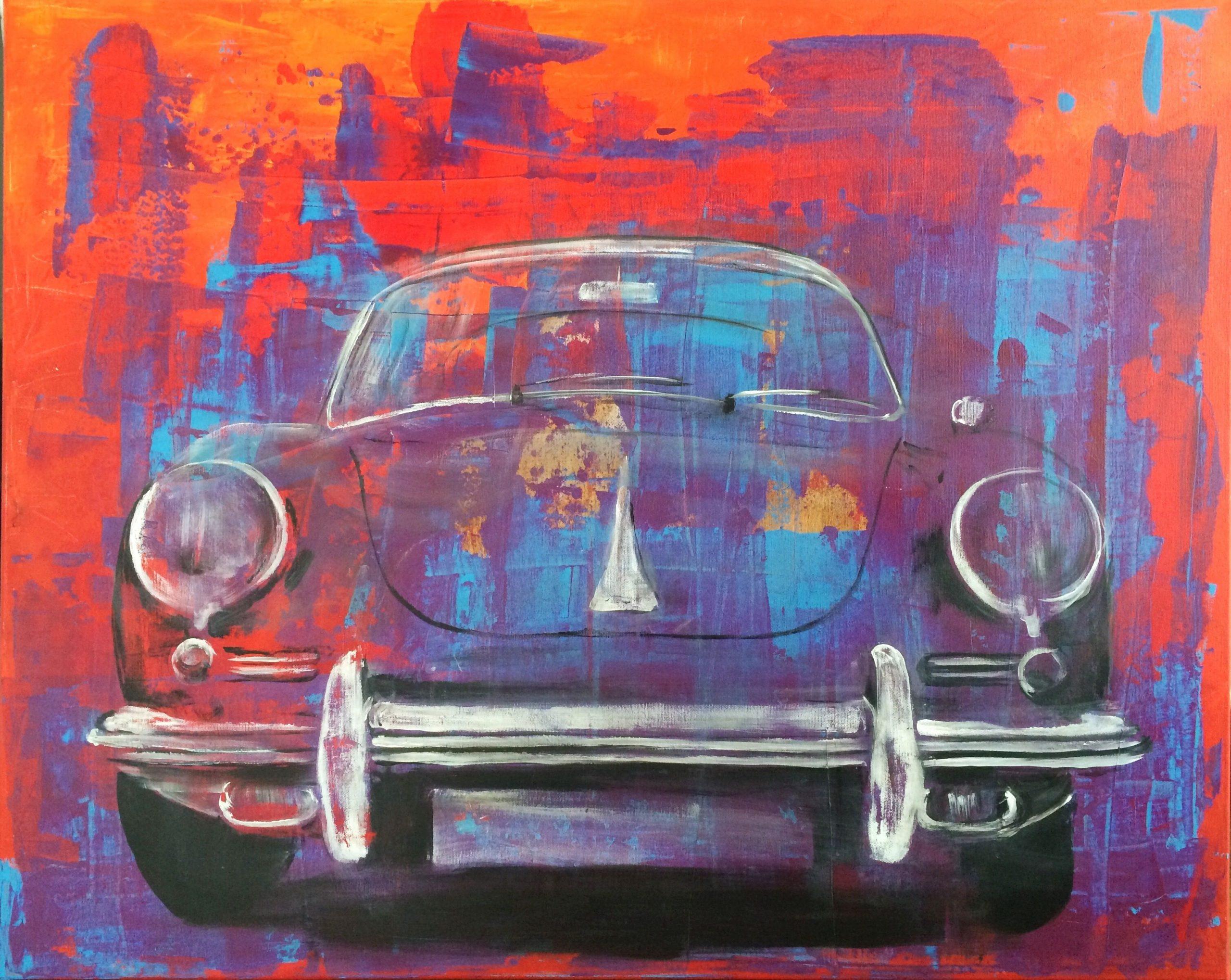Porsche 356, Kunst, Gemalt, Art, Popart, Bunt, Porsche, (Mit bestimmt für Auto Gemalt