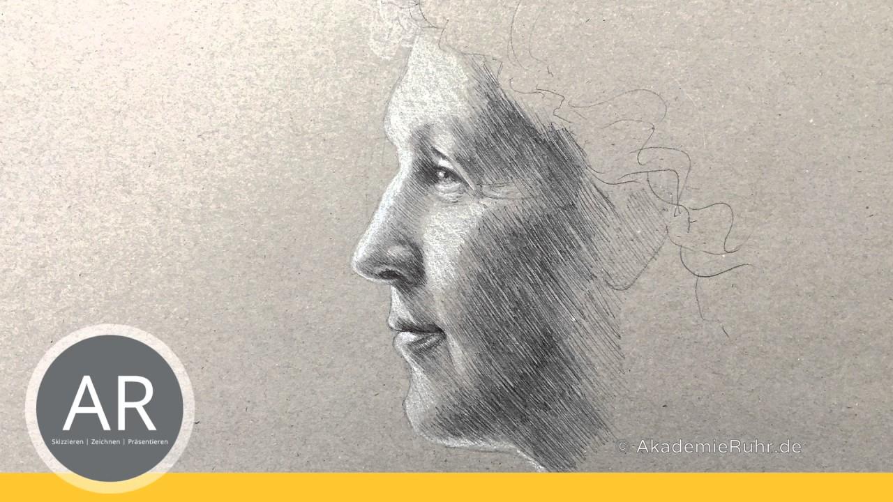 Porträt Im Profil Zeichnen Lernen. Gesichter Malen. Porträt-Zeichen-Kurs.  Mappenkurs Kunst innen Gesicht Von Der Seite Zeichnen