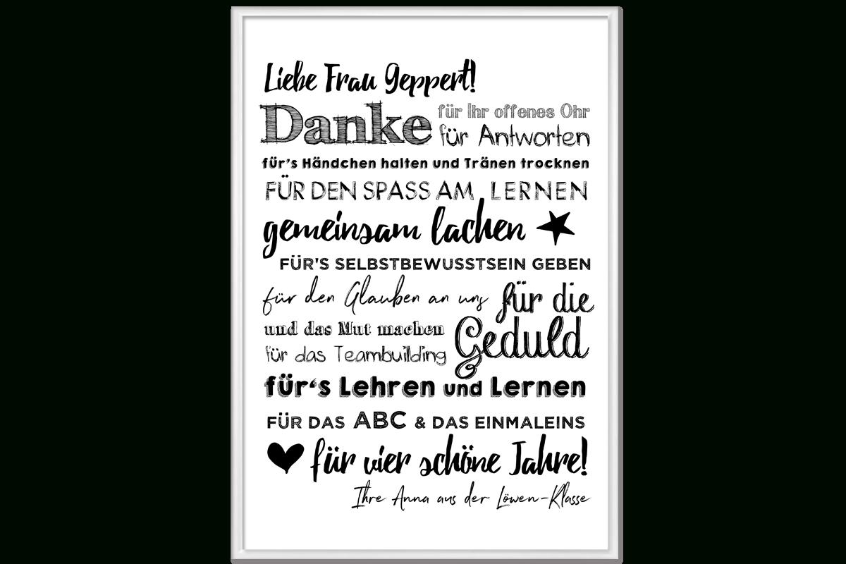 Poster Danke Für Lehrer innen Verabschiedung Lehrerin Grundschule Spruch