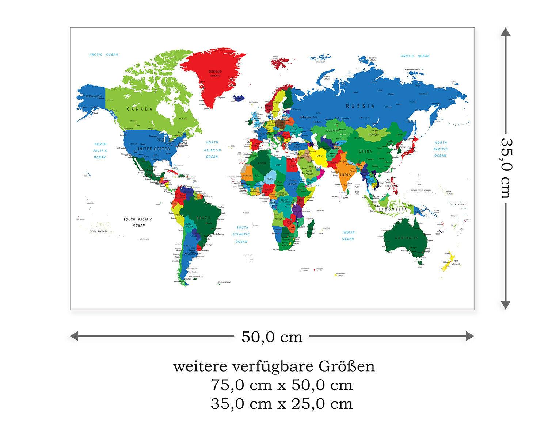 Postereck Leinwand 0666 - Politische Weltkarte, Laender für Weltkarte Mit Hauptstädten