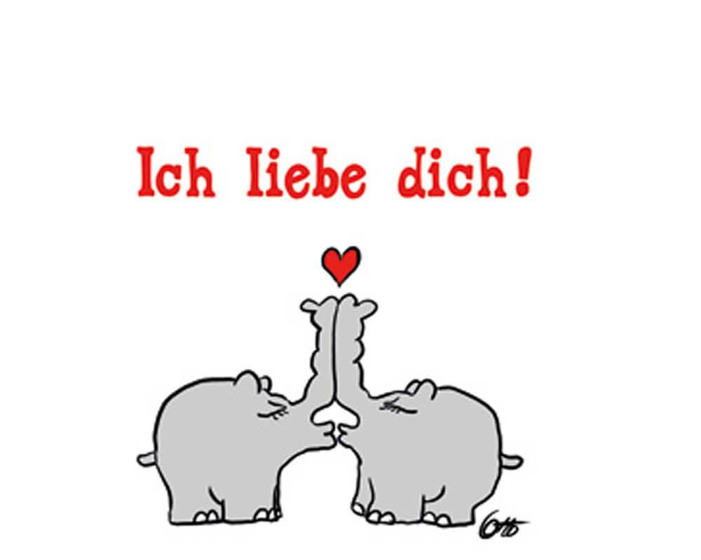 """Postkarte Ottifanten """"ich Liebe Dich!"""" ganzes Ich Liebe Dich Bilder"""