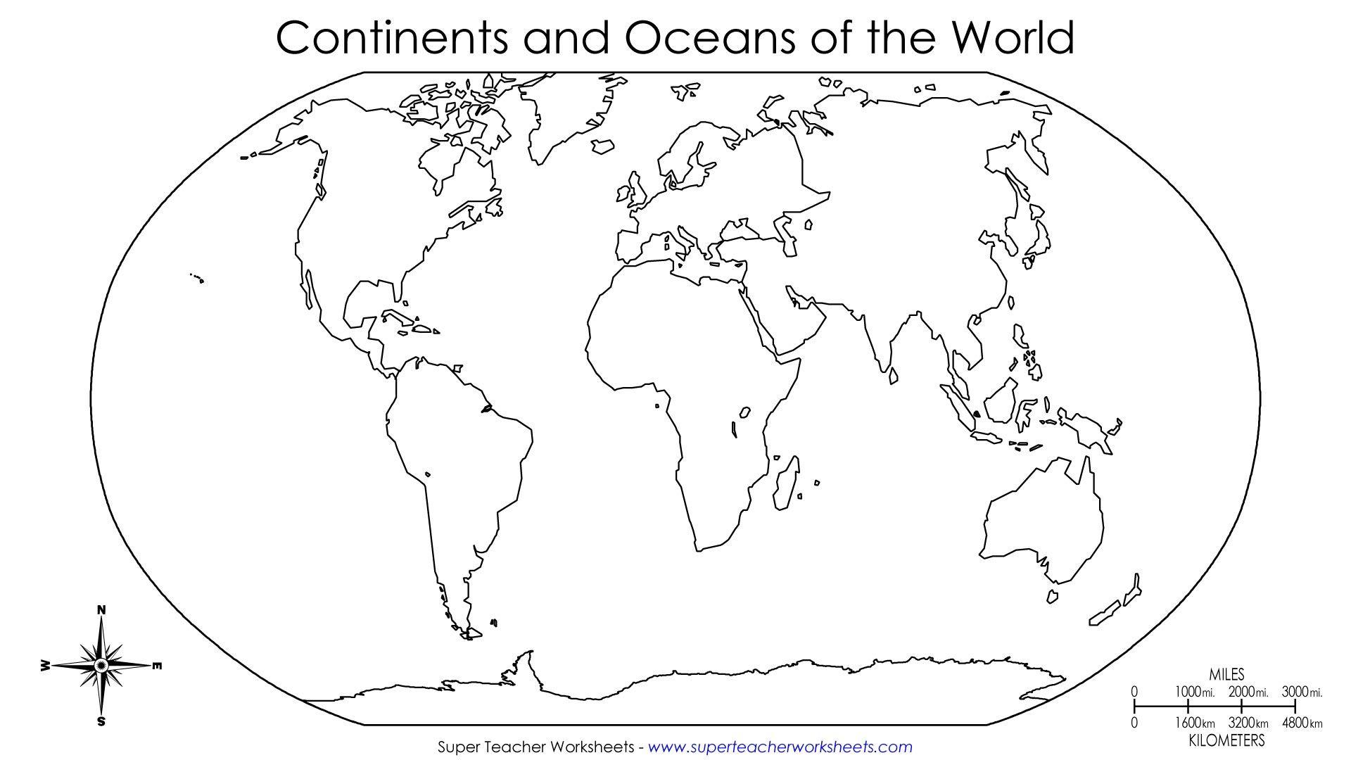 Printable World Map With Names   Labeled World Map Printable mit Ausmalbilder Kontinente