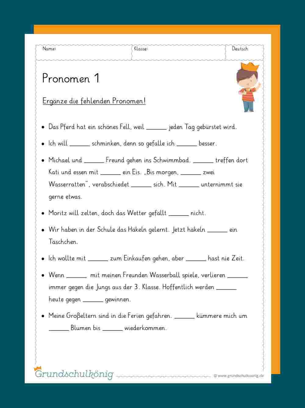 Pronomen in Übungsaufgaben Deutsch Klasse 4 Kostenlos
