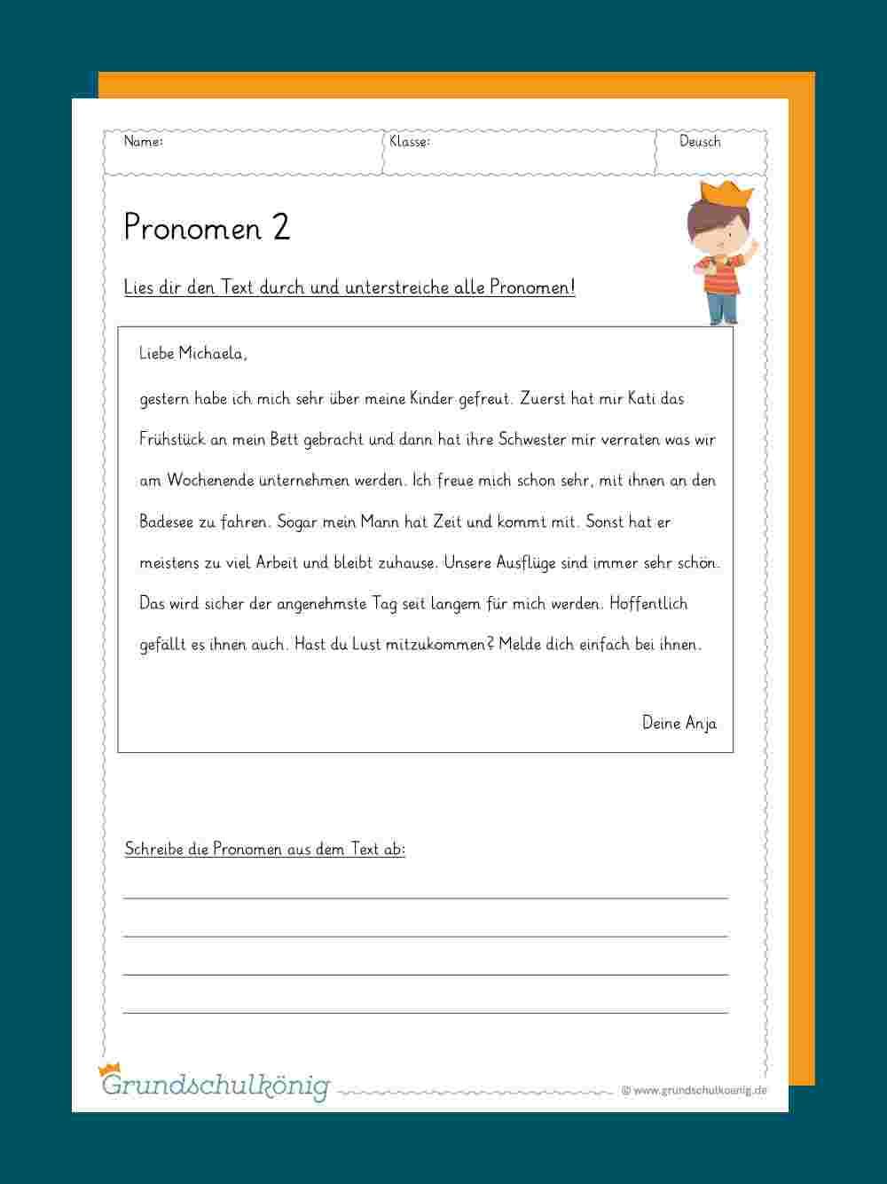 Pronomen innen Deutsch Übungen Klasse 2 Zum Ausdrucken
