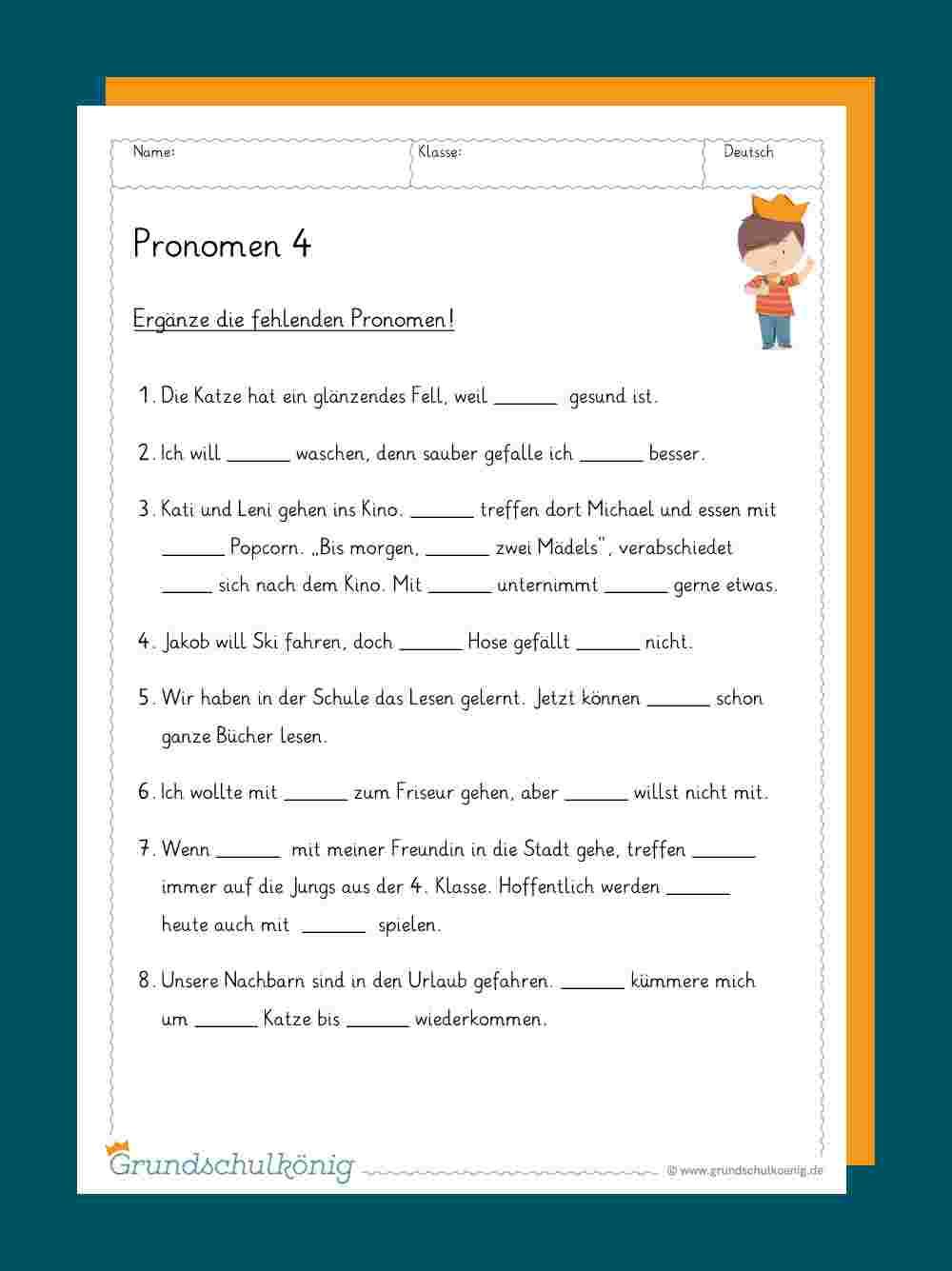 Pronomen innen Deutsch Übungsblätter Klasse 4 Zum Ausdrucken