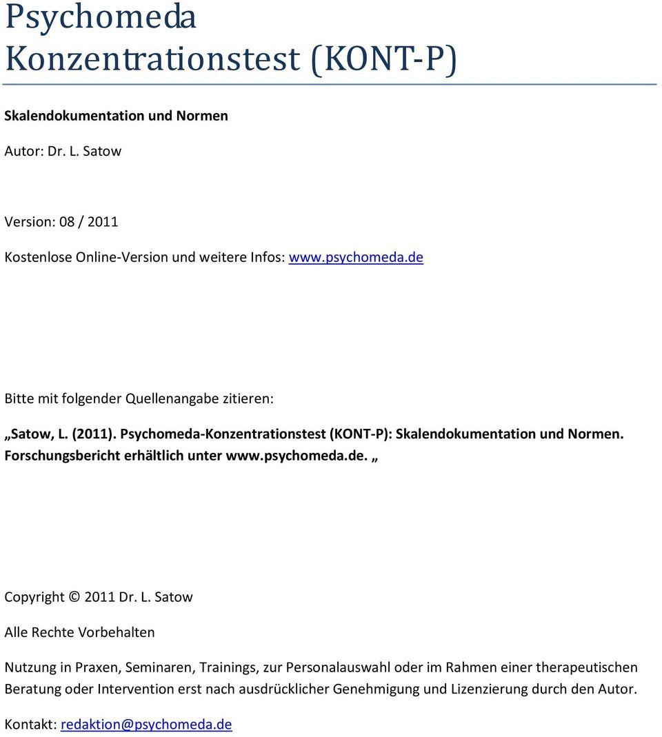 Psychomeda Konzentrationstest (Kont-P) - Pdf Free Download für Konzentrationstest Zum Ausdrucken