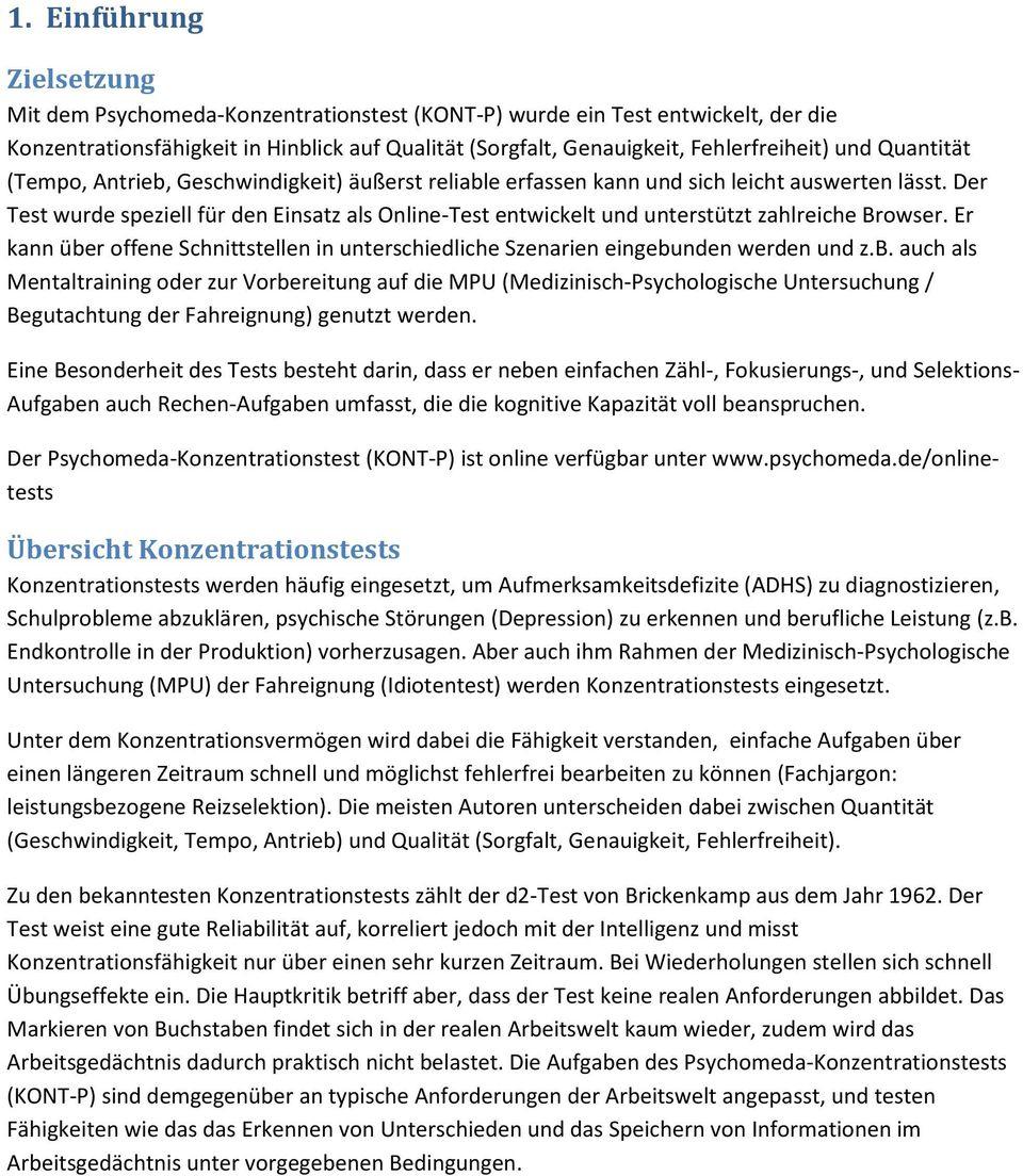 Psychomeda Konzentrationstest (Kont-P) - Pdf Free Download innen Konzentrationstest Zum Ausdrucken
