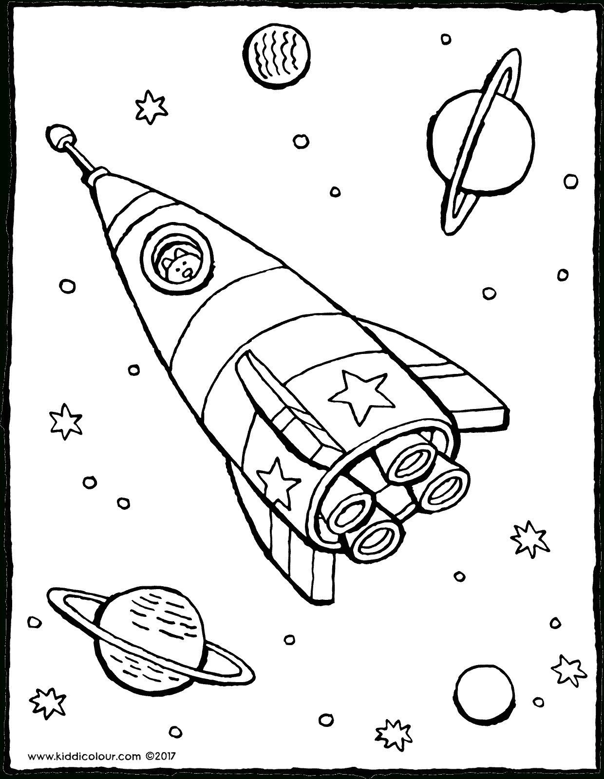 Rakete Im Weltraum - Kiddimalseite in Ausmalbild Rakete