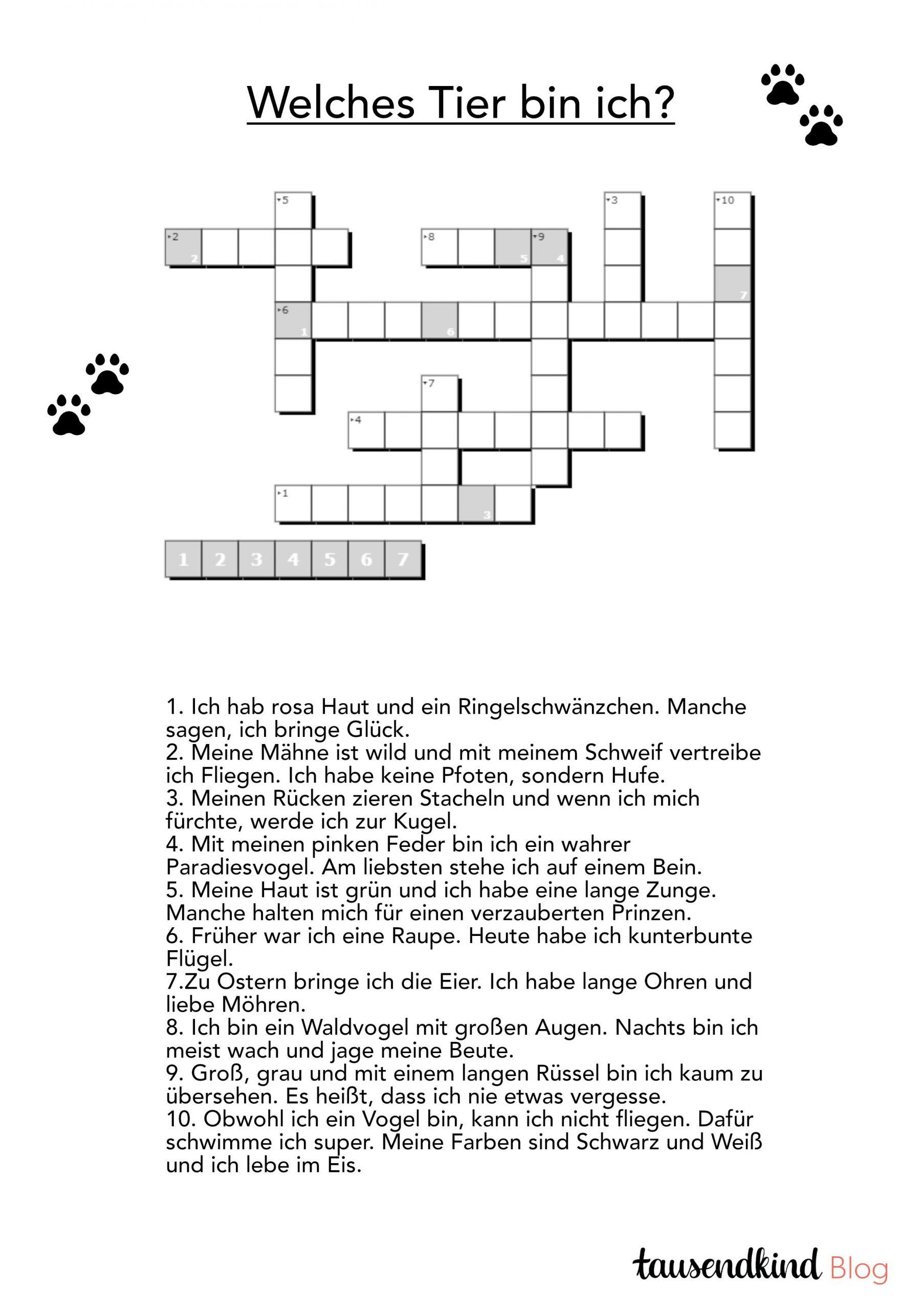 Rätsel Für Kinder Zum Ausdrucken - 5 Varianten Gegen Die innen Rätsel Für Kindergartenkinder Tiere