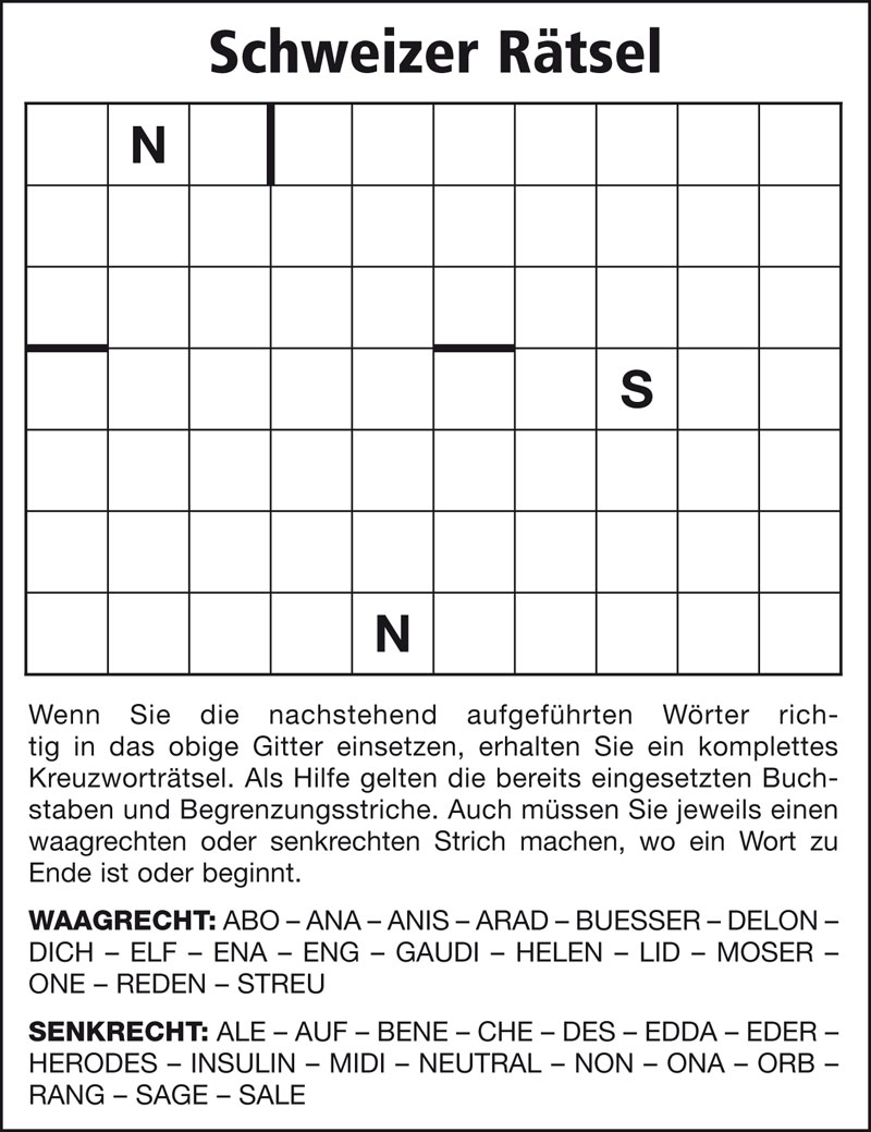 Rätselarten - Rätselservice Ruepp über Rätsel Lösen Kreuzworträtsel