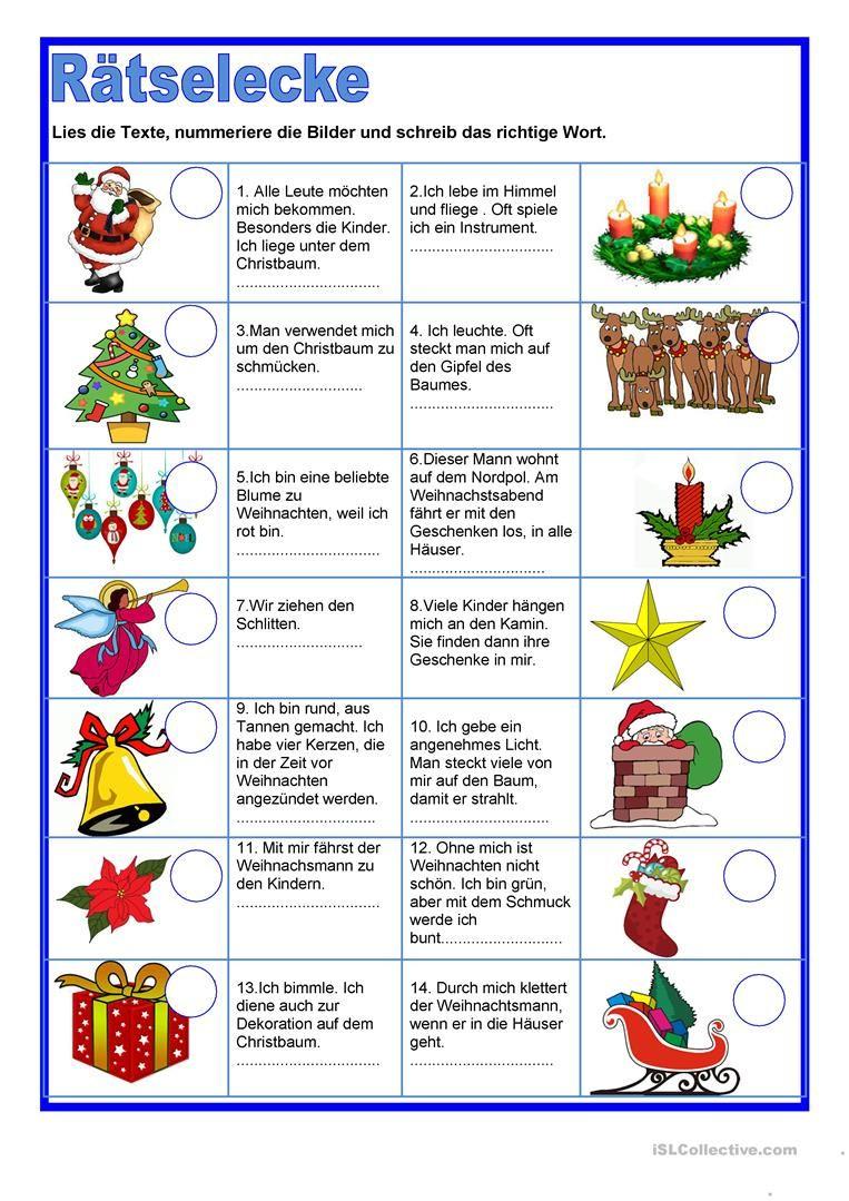 Rätselecke - Weihnachten | Weihnachten Spiele ganzes Weihnachtsrätsel Für Kindergartenkinder