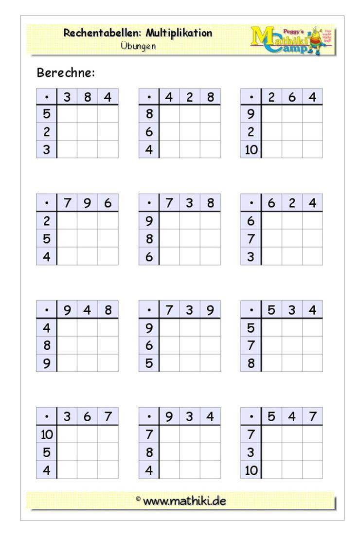 Rechentabellen Multiplikation (Klasse 3) - Lade Dir Das ganzes Das Kleine Einmaleins Arbeitsblätter