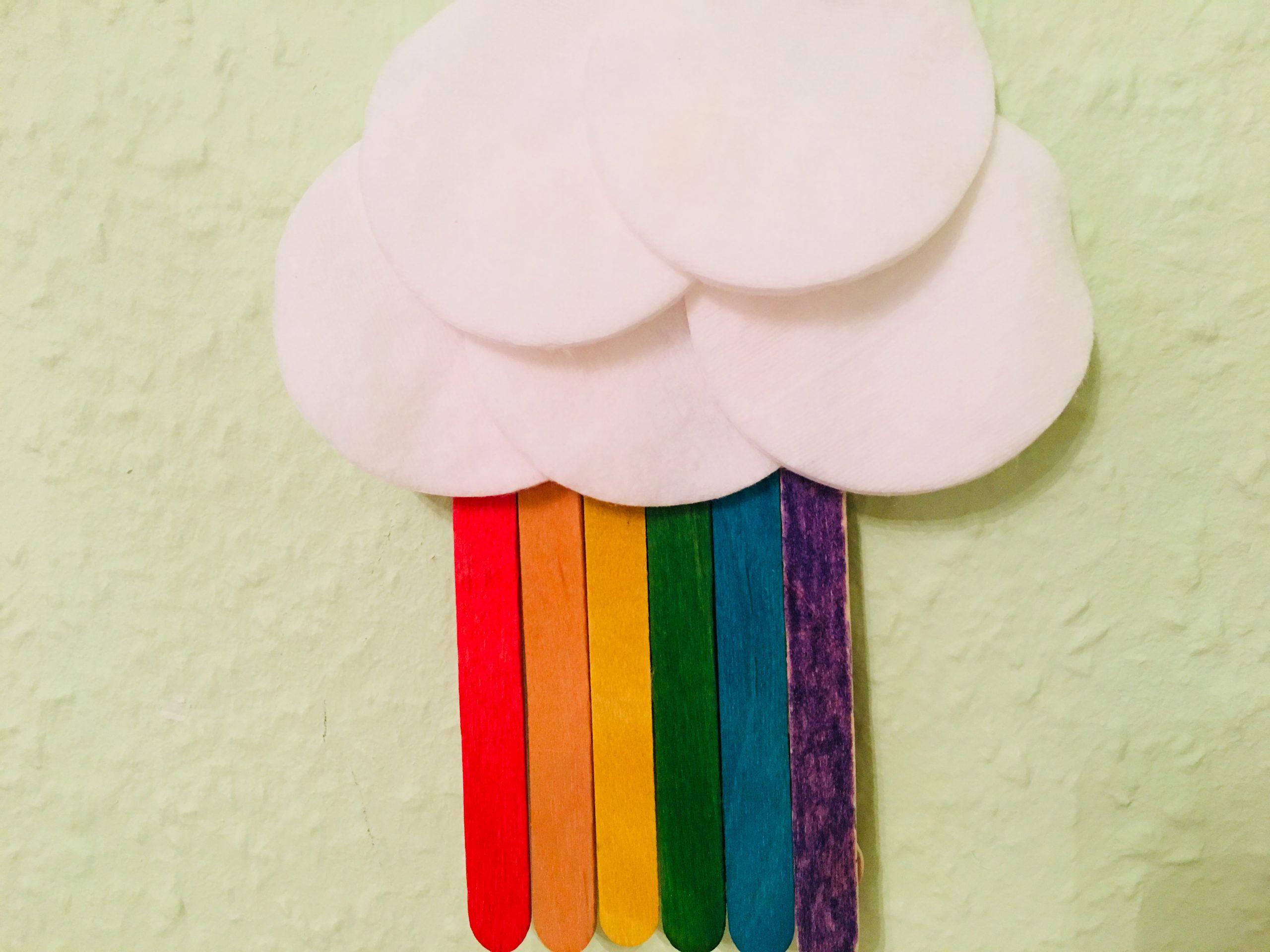 Regenbogen Wolke Basteln | Der Familienblog Für Kreative Eltern innen Bastelvorlage Regenbogen
