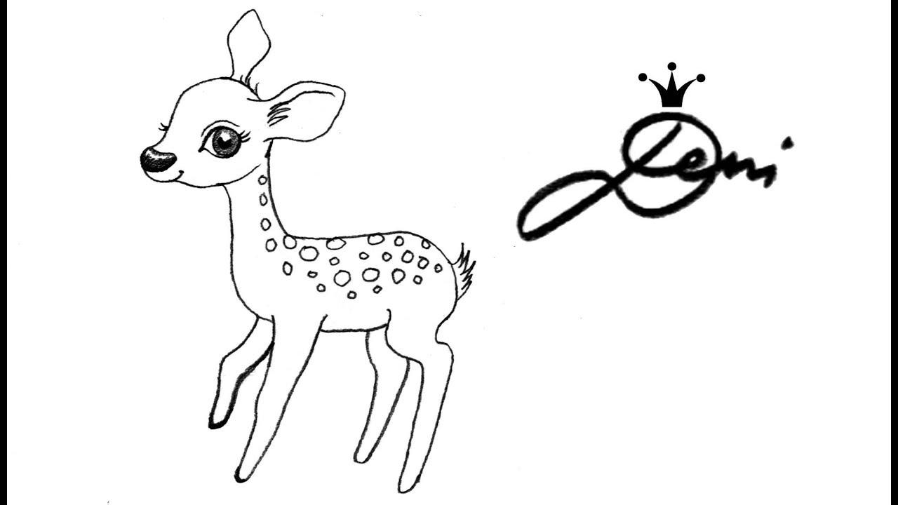 Reh 🦌 Rehkitz Zeichnen Lernen Für Kinder 🦌 How To Draw A Fawn (Cute Baby  Deer) Сърничка ganzes Reh Zeichnen