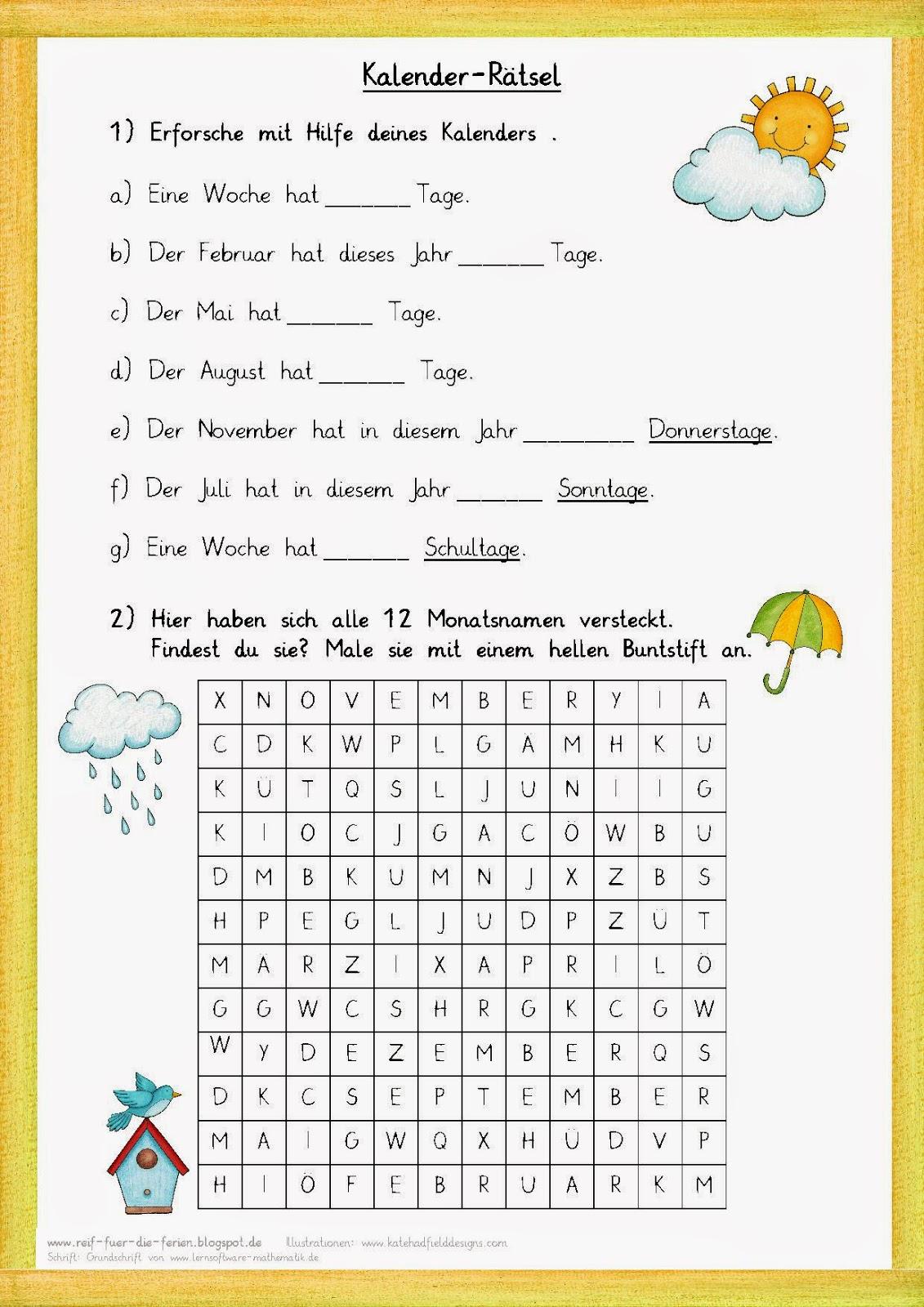 Reif Für Die Ferien: Kalender-Rätsel Zum Jahr innen Rätselfragen Für Kinder