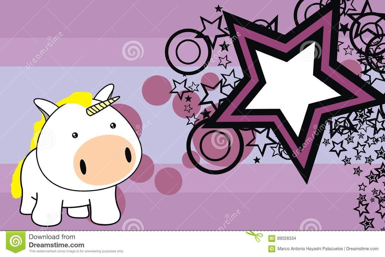 Reizender Einhornbaby-Karikaturhintergrund Vektor Abbildung bestimmt für Einhornbaby