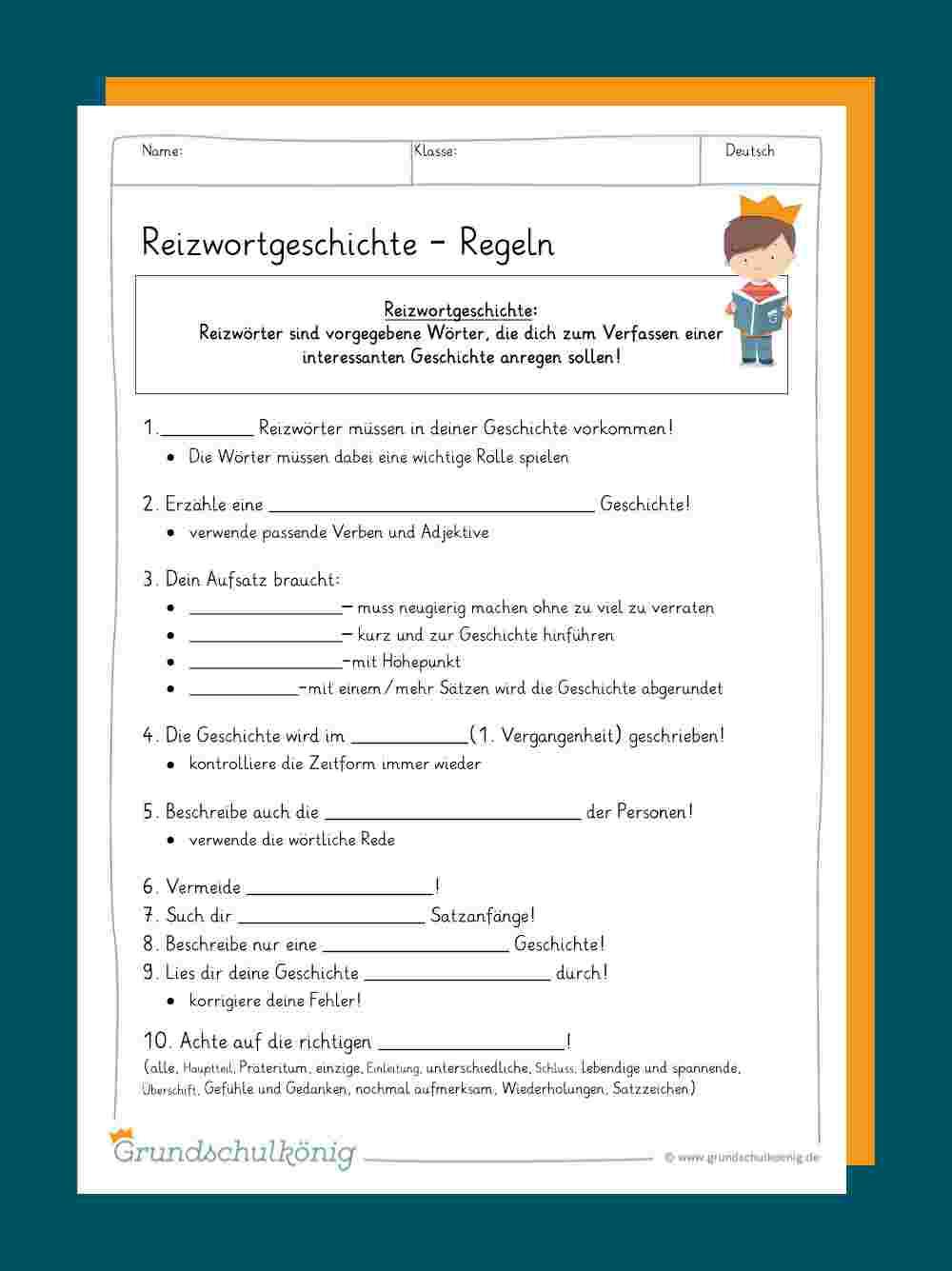 Reizwortgeschichte für 4 Klasse Deutsch Geschichte Schreiben