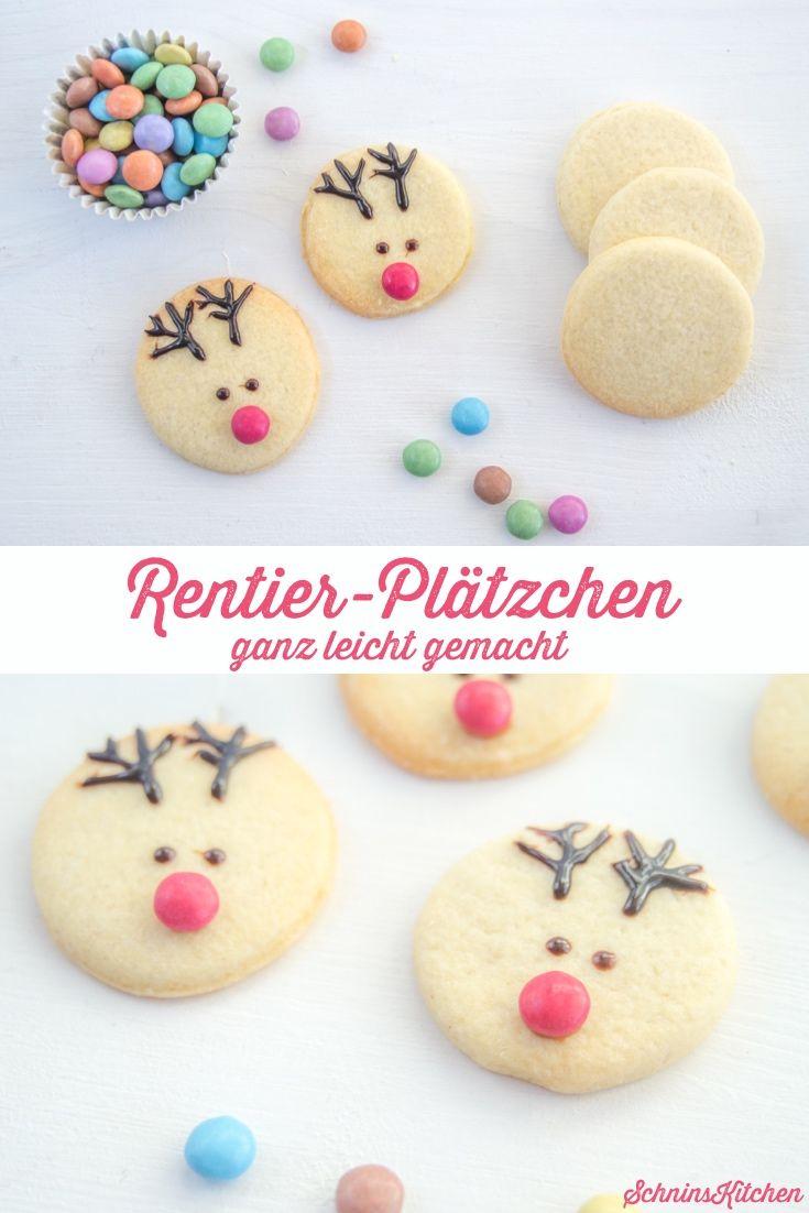 Rentier-Plätzchen - Schnell Und Einfach Verziert | Plätzchen mit Plätzchen Rezepte Weihnachten Kinder