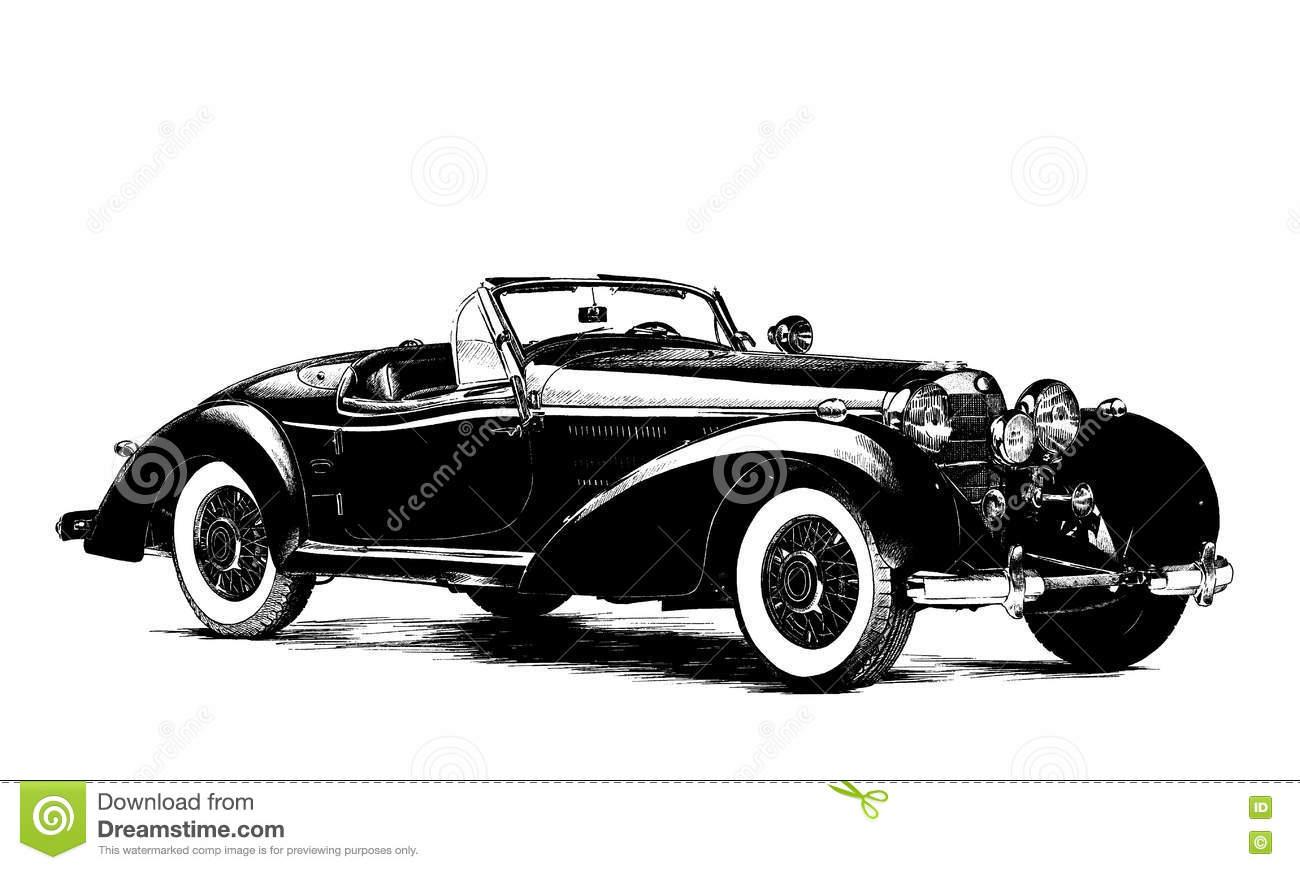 Retro- Auto Gemalt Vektor Abbildung. Illustration Von Straße für Auto Gemalt