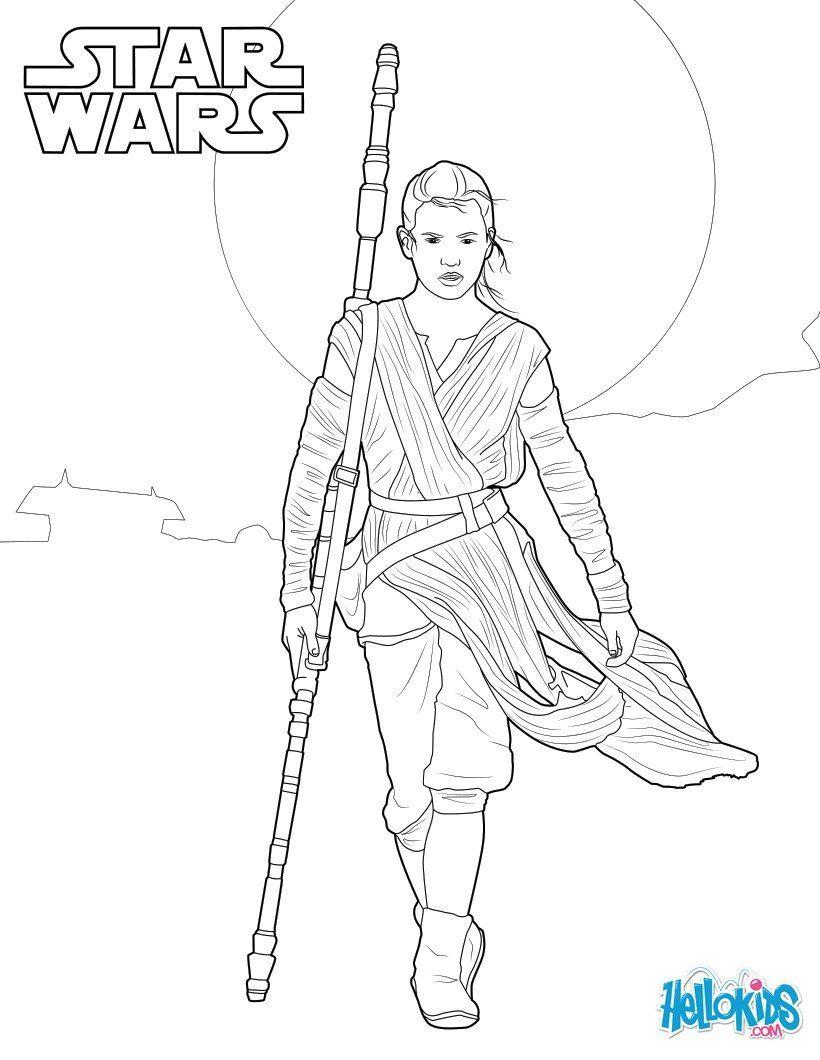 Rey Star Wars Vii Coloring Pages   Rey   Star Wars Malbuch bei Star Wars Bilder Zum Drucken