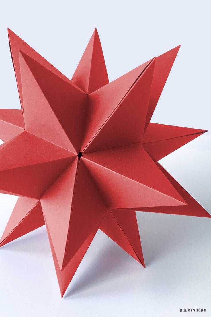 Riesen 3D Stern Falten A La Bascetta Ohne Zusammenstecken über Weihnachts Sterne Basteln